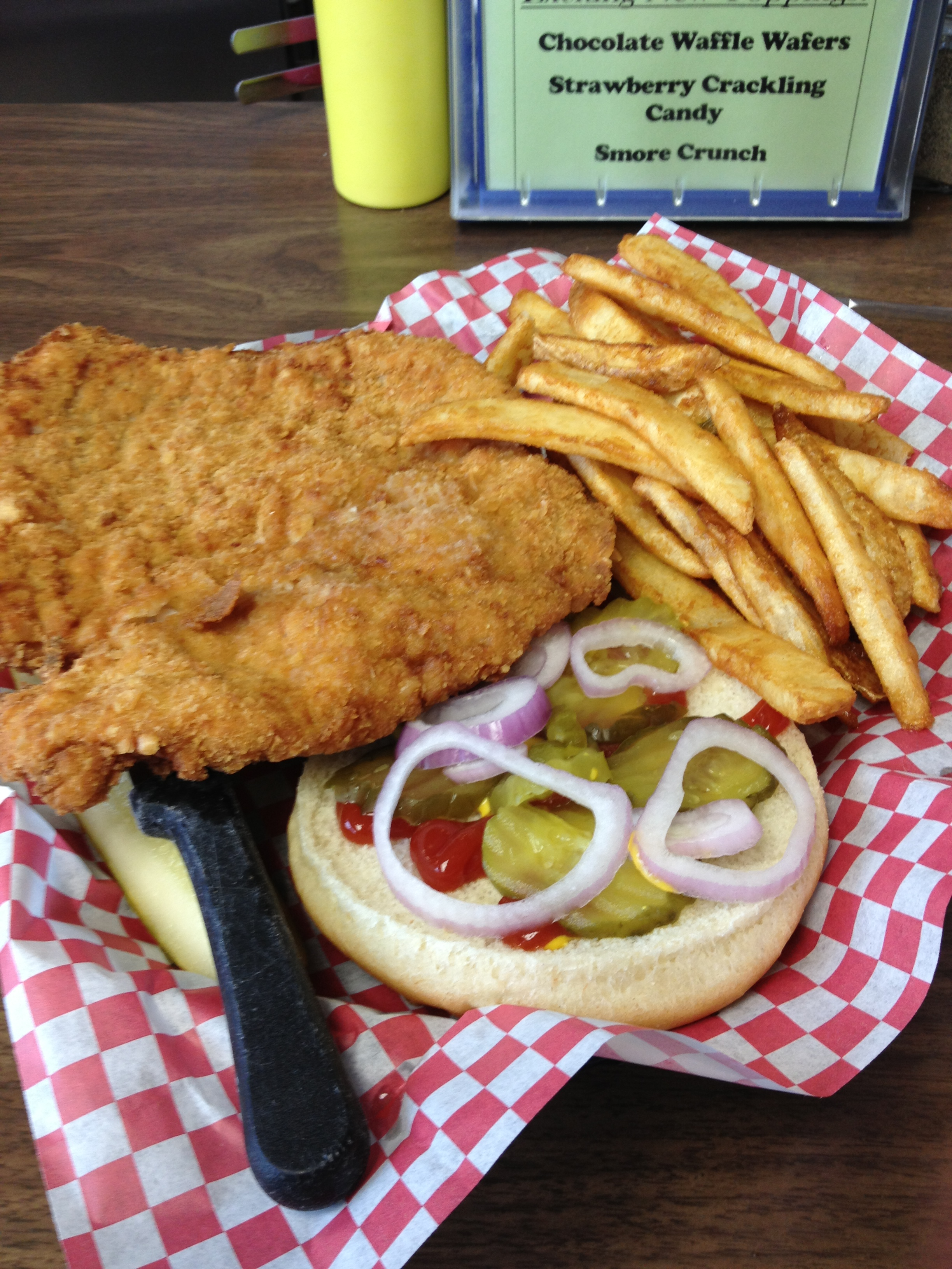 Giant fried tenderloin sandwich at Goldie's Ice Cream Shop in Prairie City, Iowa