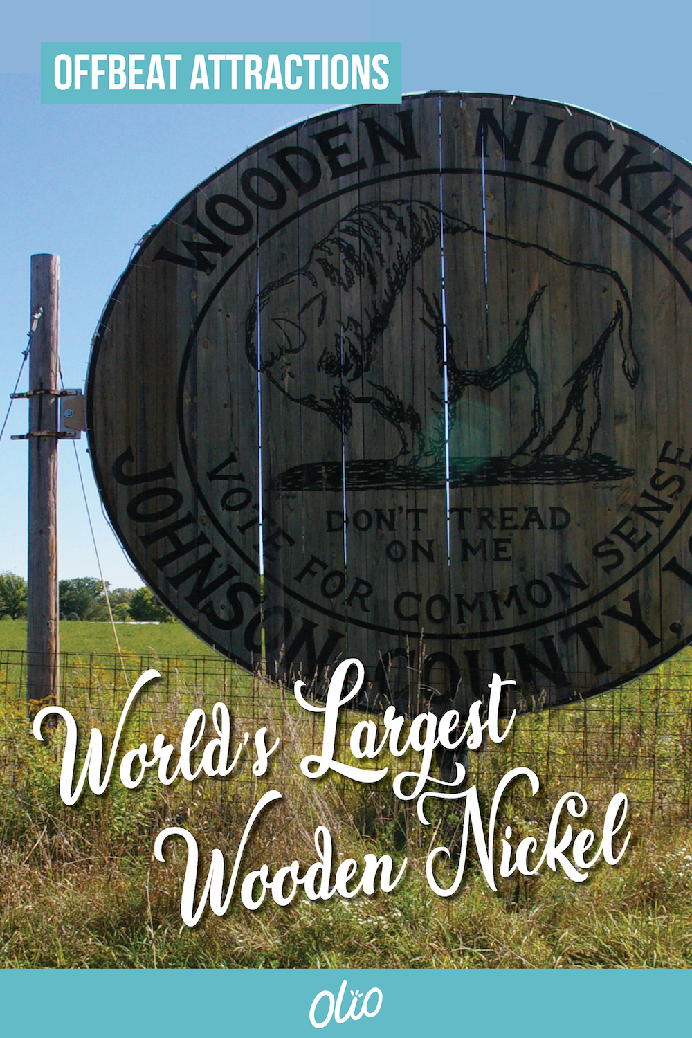 The next time you're near Iowa City, Iowa, swing by the World's Largest Wooden Nickel! This offbeat attraction is the perfect photo opp for any Midwest road trip. #Iowa #RoadsideAttraction