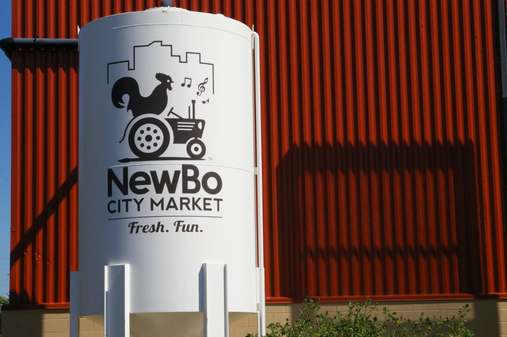 Water tower at NewBo City Market in Cedar Rapids, Iowa