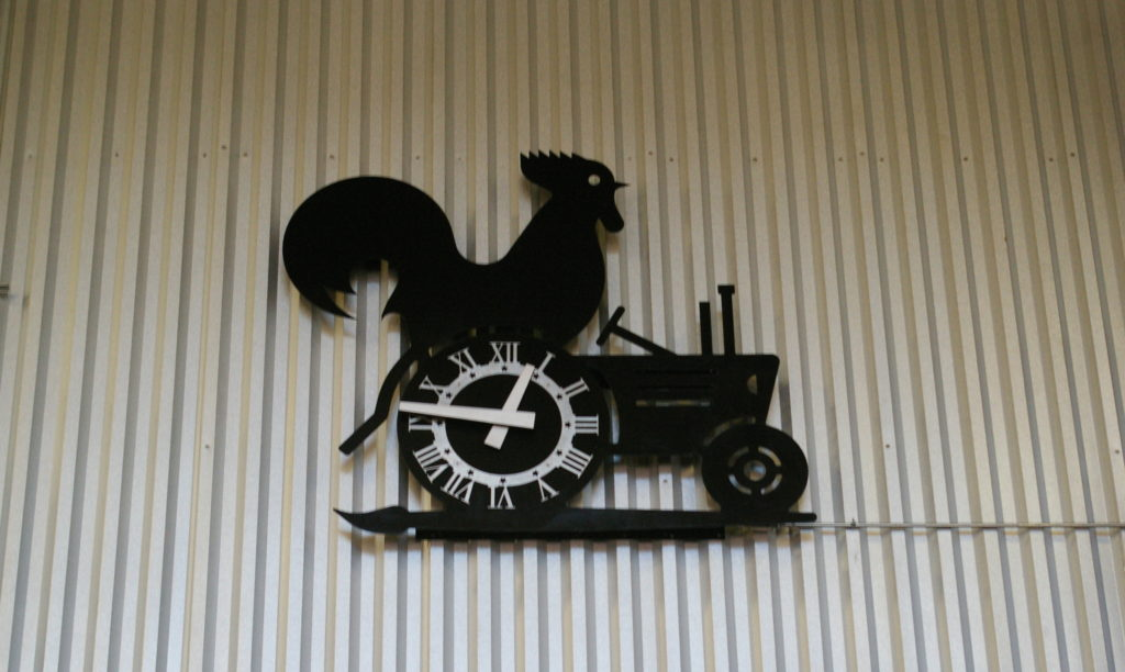 Rooster clock at NewBo City Market in Cedar Rapids, Iowa