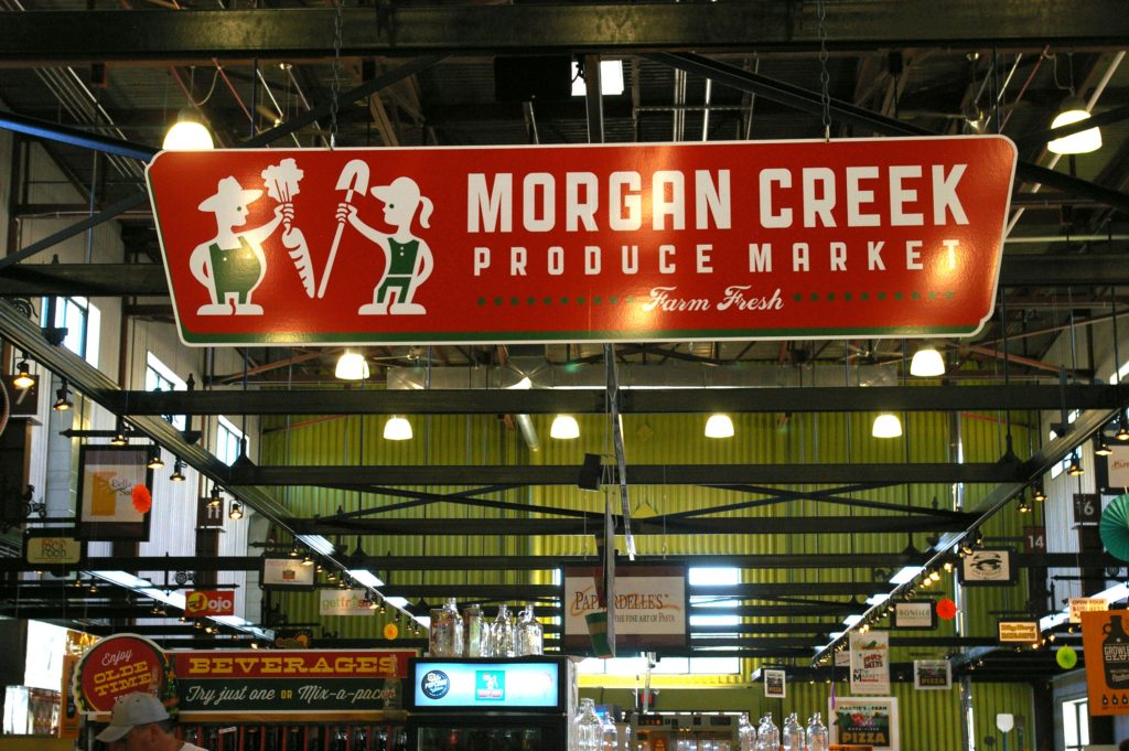 Morgan Creek Produce Market Sign at NewBo City Market in Cedar Rapids, Iowa
