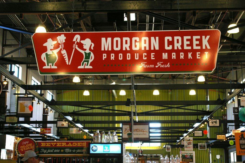 Morgan Creek Produce Market Sign at NewBo City Market in Cedar Rapids, Iowa