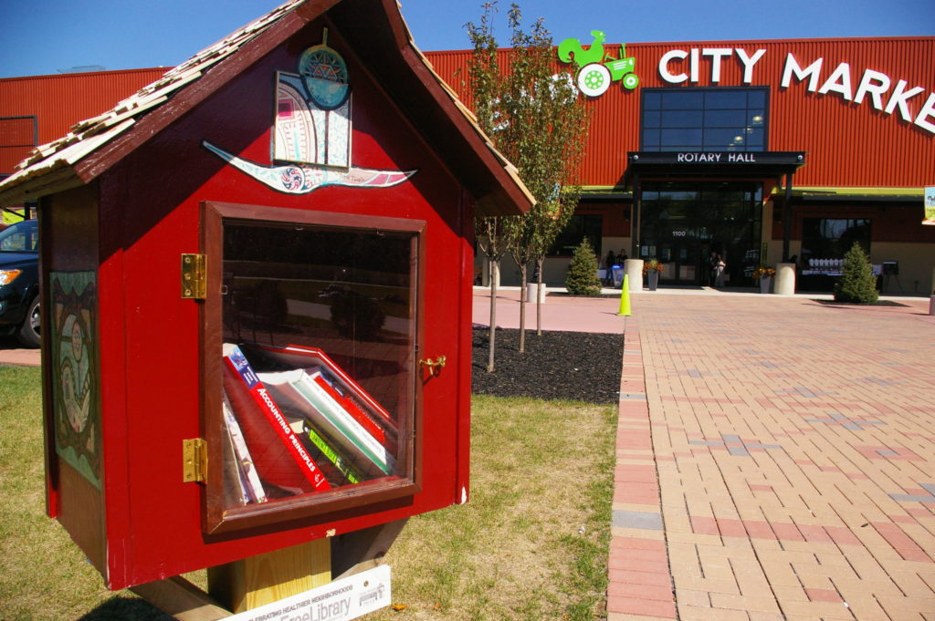 Little Free Library at NewBo City Market in Cedar Rapids, Iowa