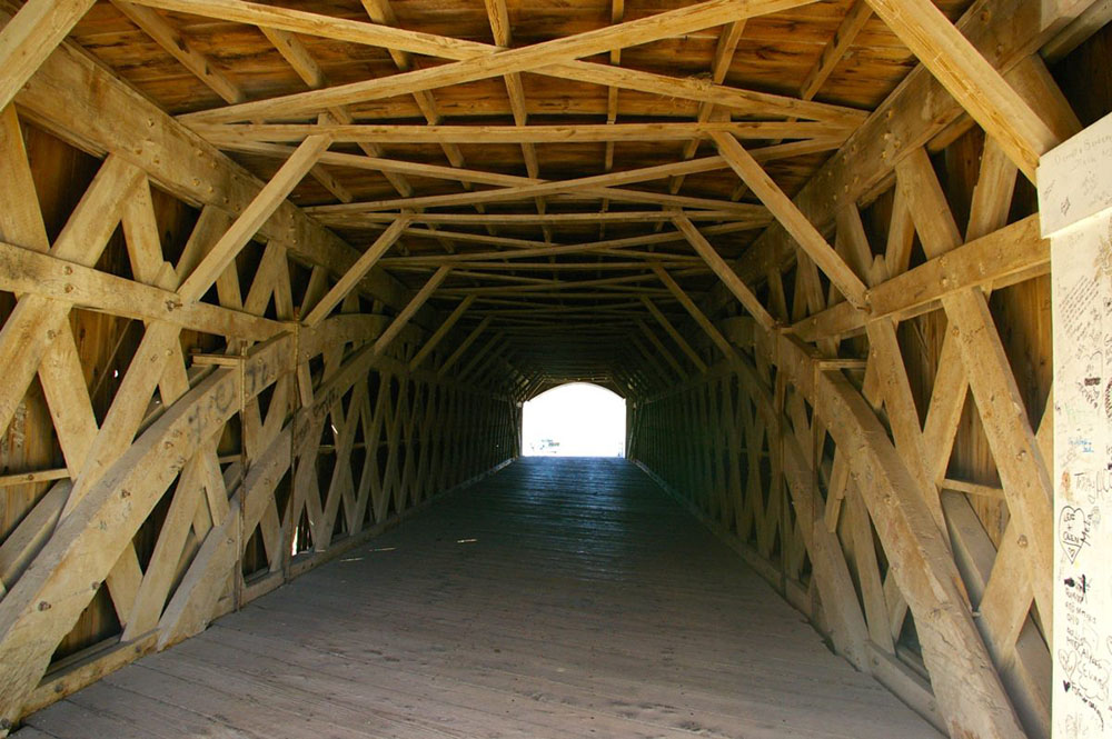 Interior wood structure of the Holliwell Covered Bridge, , one of the six remaining Bridges of Madison County near Winterset, Iowa