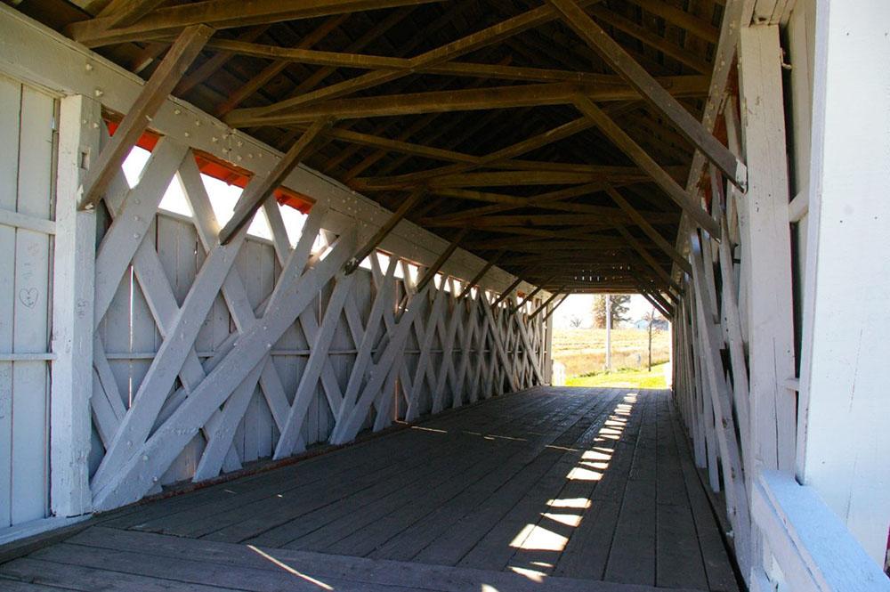 White painted interior beams of Imes Covered Bridge near Winterset, Iowa