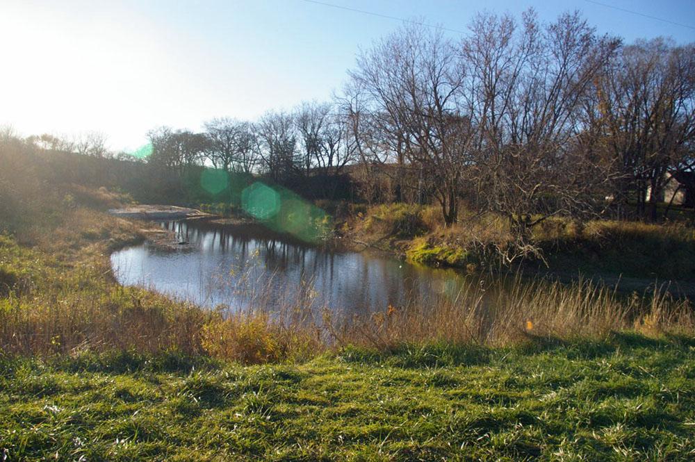 Serene riverbank next to Roseman Covered Bridge near Winterset, Iowa