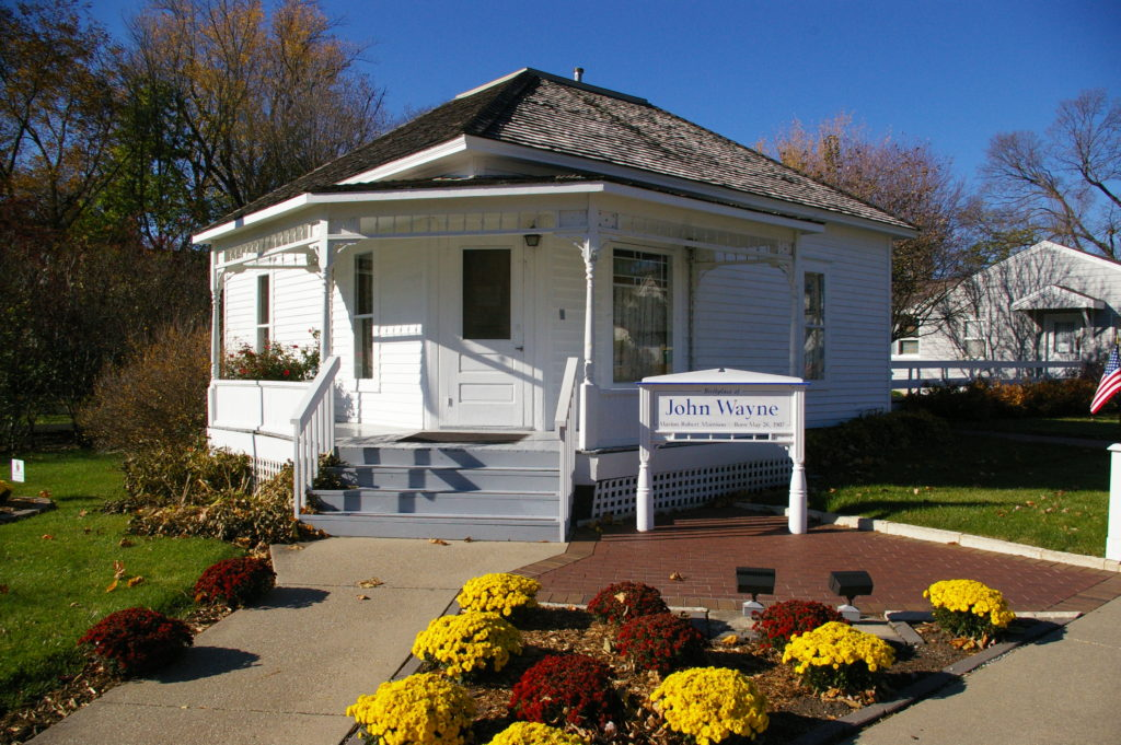White cottage that is the birthplace of John Wayne in Winterset Iowa