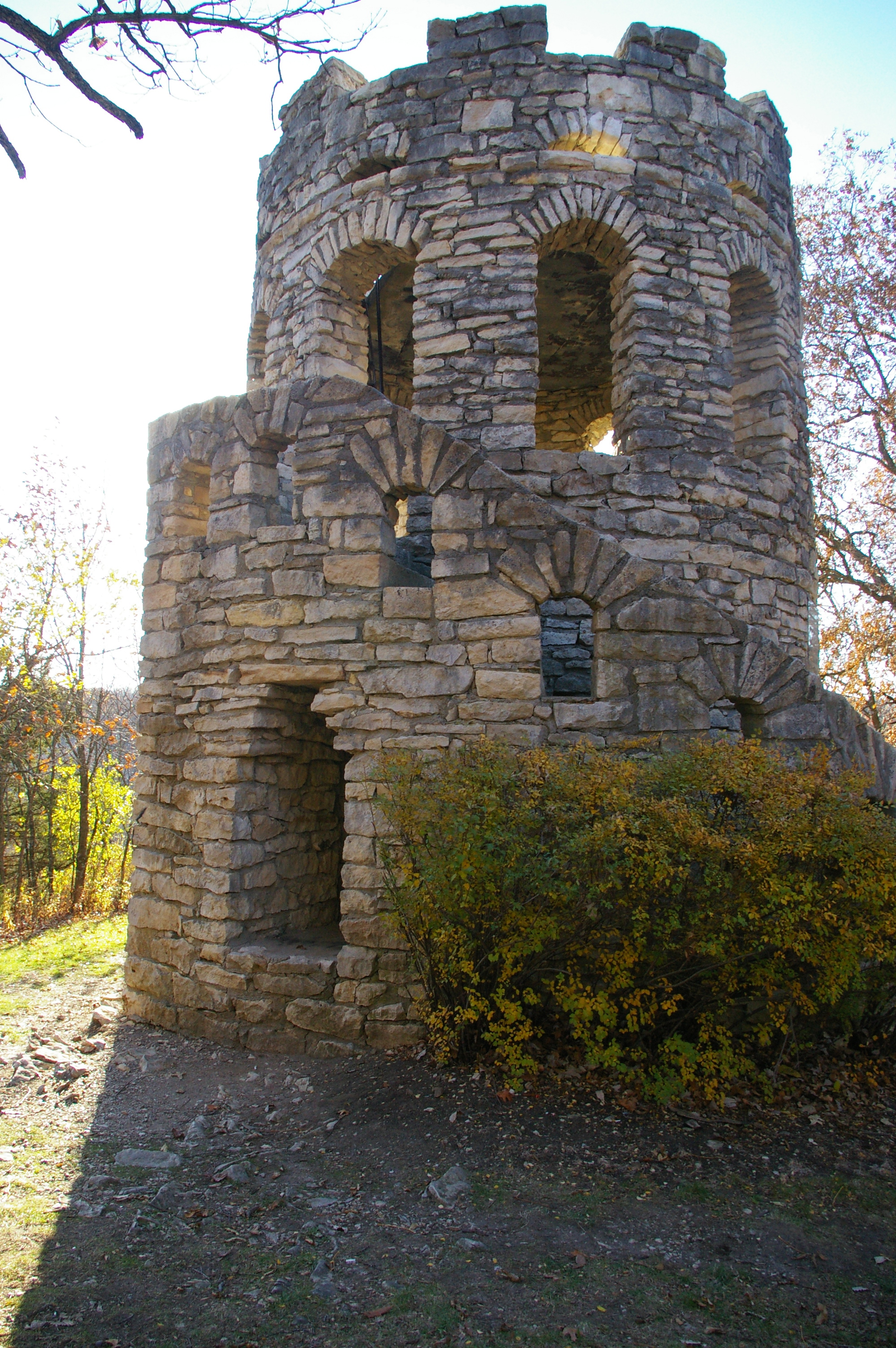 Stone tower called Clark Tower in Winterset City Party in Winterset, Iowa