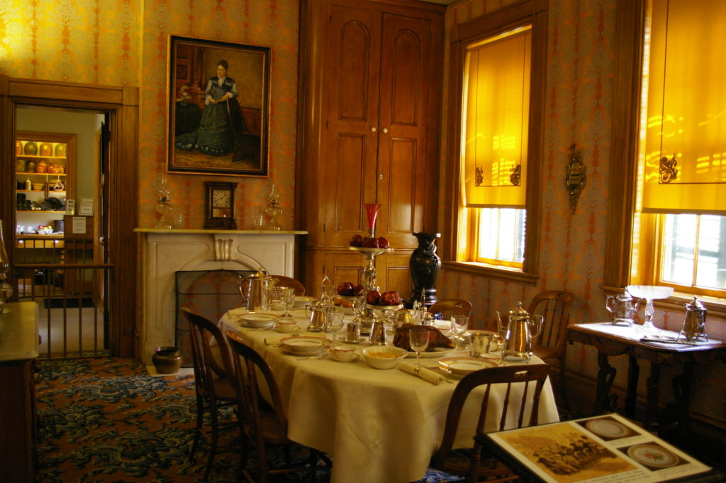 Dining room in the Ulysses S. Grant home in Galena, Illinois
