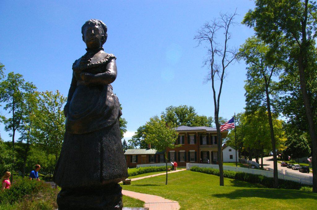 Statue of Julia Grant outside the Ulysses S. Grant Home in Galena, Illinois