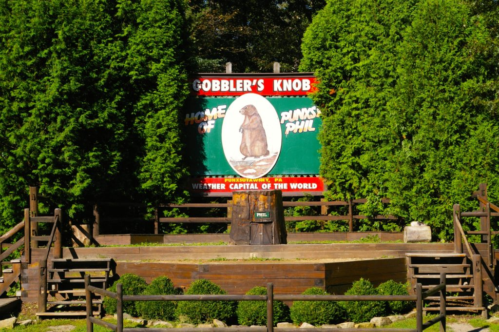 Gobbler's Knob stage and sign
