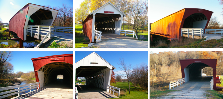 Graphic featuring images of the six remaining Bridges of Madison County near Winterset, Iowa