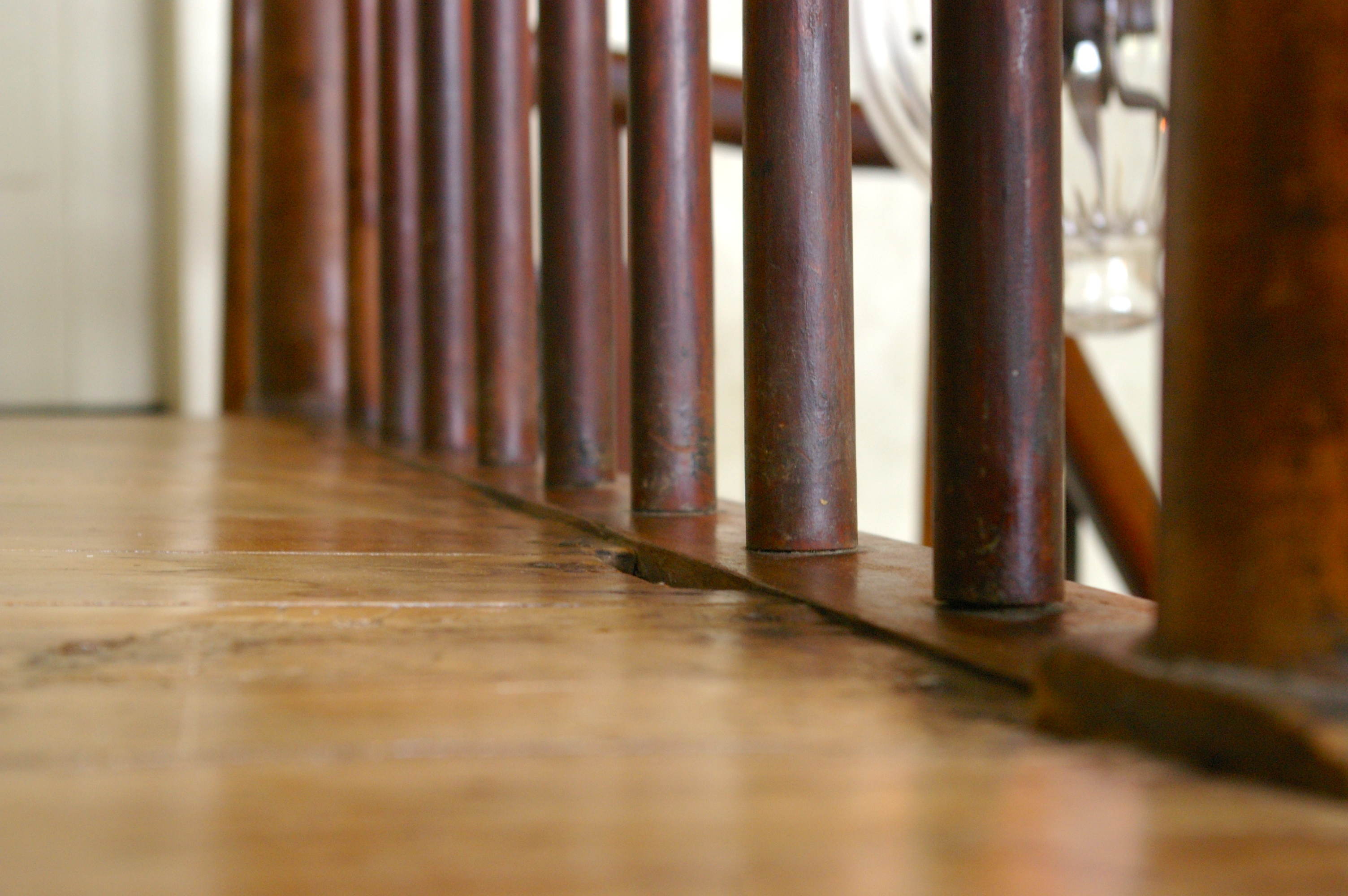 Wooden railings in the historic Bentonsport Village Bed & Breakfast in Bentonsport, Iowa