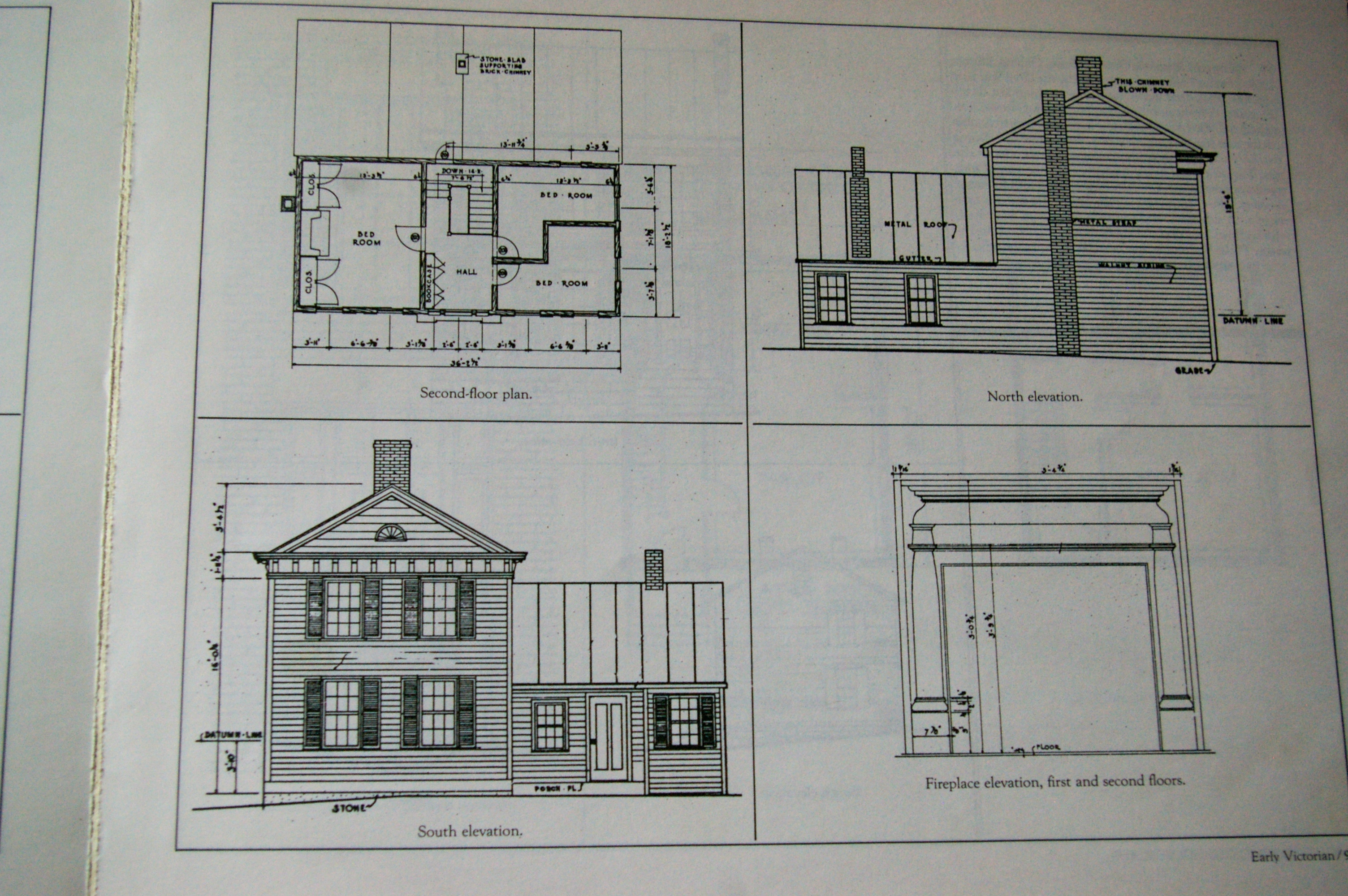 Historic blueprints of the Bentonsport Village Bed & Breakfast in Bentonsport, Iowa