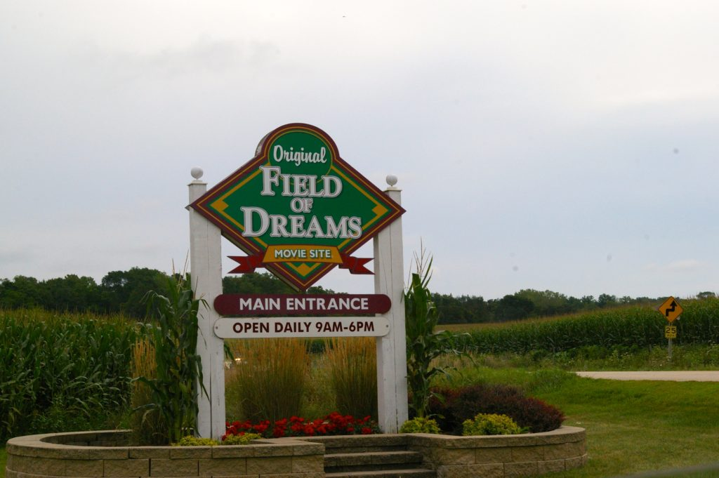 Field of Dreams Movie Site sign at the Field of Dreams in Dyersville, Iowa