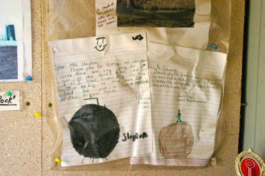 Notes from schoolchildren about their visit to Slayton Rock near Casey, Iowa