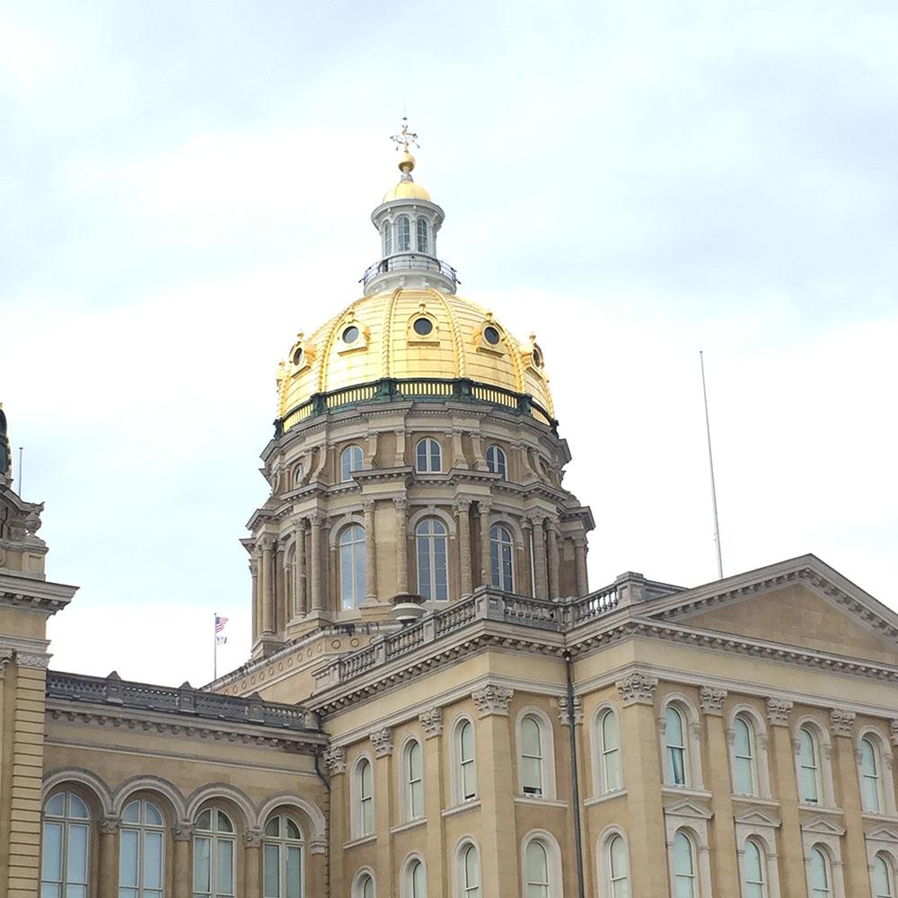 Iowa State Capitol building in Des Moines, Iowa