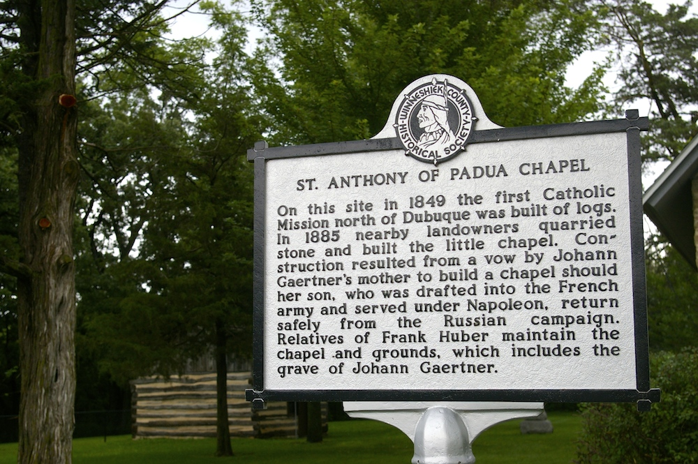 Plaque about the St. Anthony of Padua Chapel, also known as the World's Smallest Church, in Festina, Iowa
