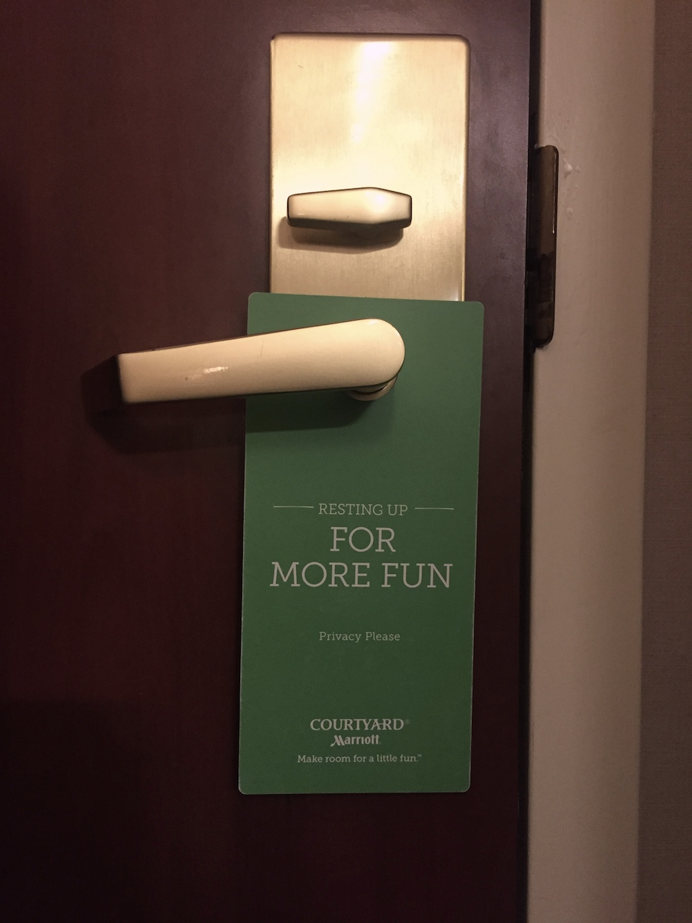 Do not disturb sign at Minneapolis St. Paul / Roseville Courtyard Marriott in Roseville, Minnesota