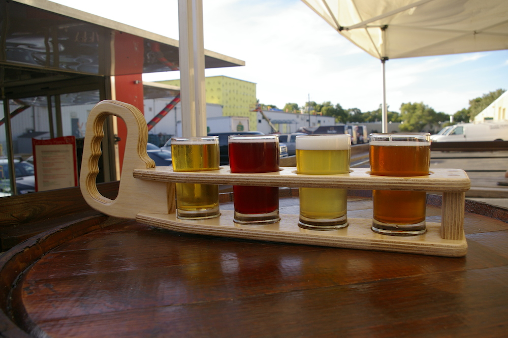 Beer flight on the patio at Bent Brewstillery in Roseville, Minnesota