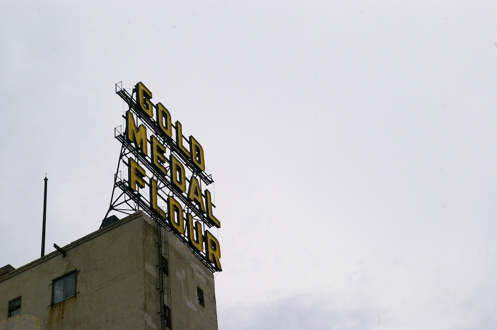 Gold Medal Flour sign on top of the Mill City Museum in Minneapolis, Minnesota