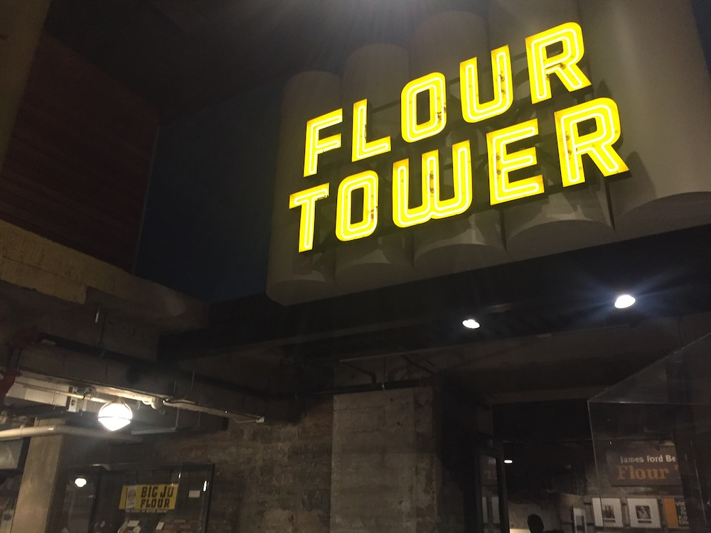 Flour Tower tour sign at the Mill City Museum in Minneapolis, Minnesota