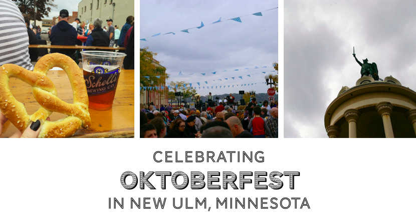Graphic that reads Celebrating Oktoberfest in New Ulm, Minnesota with pictures of giant pretzels, a street festival, and Hermann the German.