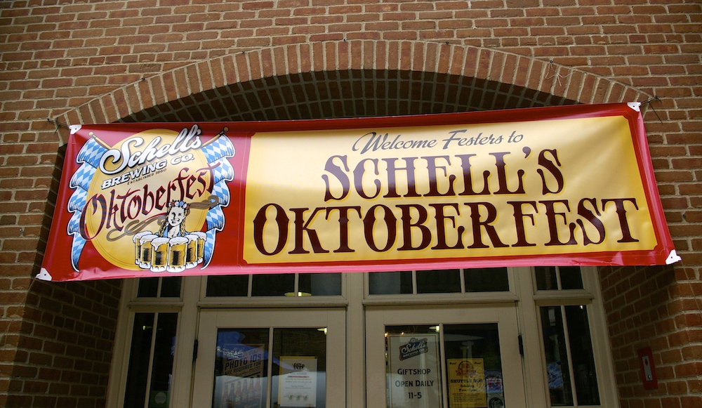 Banner for Schell's Oktoberfest during Oktoberfest in New Ulm, Minnesota