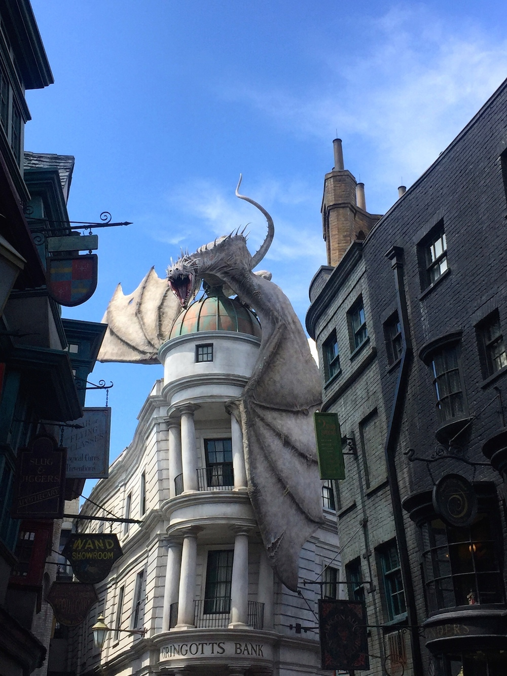 Fire breathing dragon on top of Gringott's Bank at Universal Orlando's Wizarding World of Harry Potter in Orlando, Florida