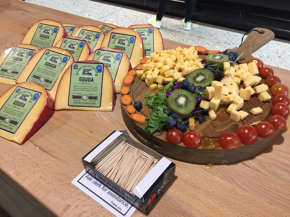 Sample cheese board at Mars Cheese Castle near Kenosha, Wisconsin