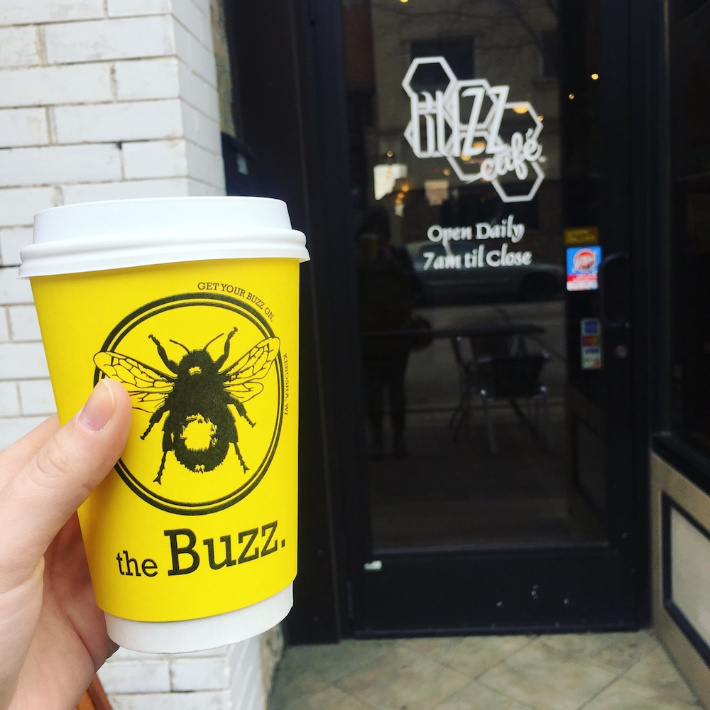 Coffee at The Buzz Cafe in Kenosha, Wisconsin