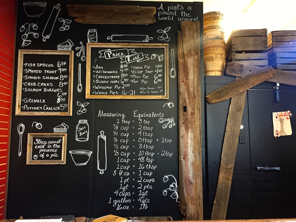 Chalkboard wall at Elsie Mae's Bakery and Cannery in Kenosha, Wisconsin