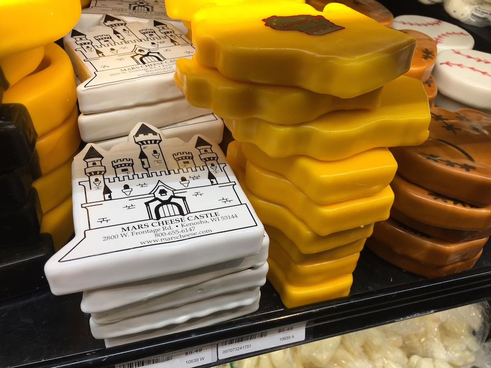 Wax wrapped cheese at the Mars Cheese Castle near Kenosha, Wisconsin
