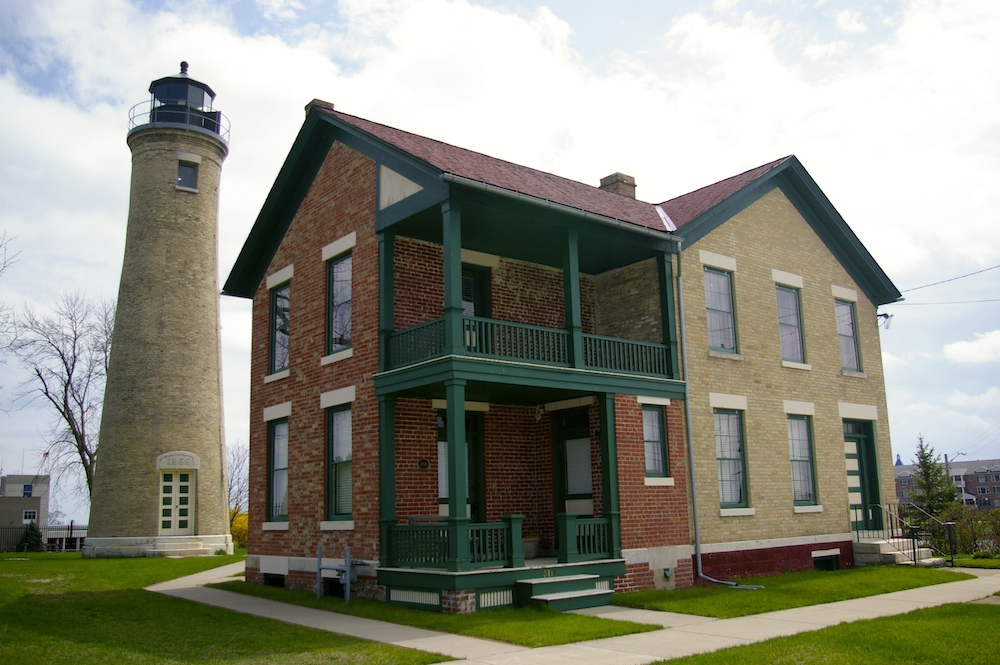 Exterior of Southport Lighthouse in Kenosha, Wisconsin