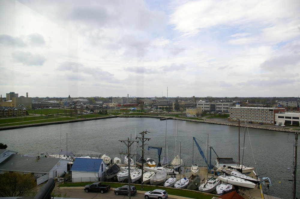 View of the harbor from the top of the Southport Lighthouse in Kenosha, Wisconsin