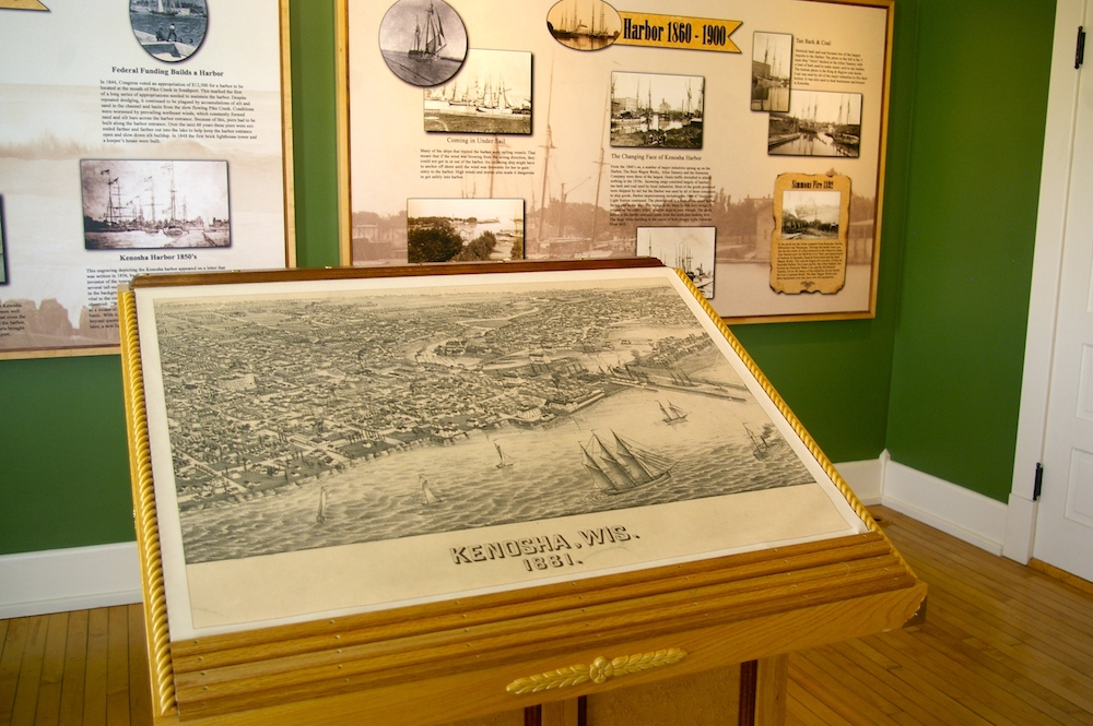 Map of historic Kenosha, Wisconsin at the Southport Lighthouse Museum