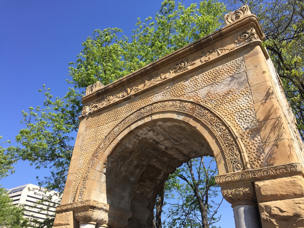 Detailed stone archway in downtown Omaha, Nebraska