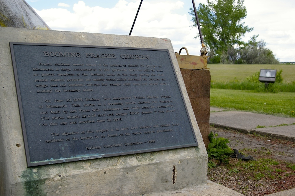 Plaque near the World's Largest Booming Prairie Chicken in Rothsay, Minnesota