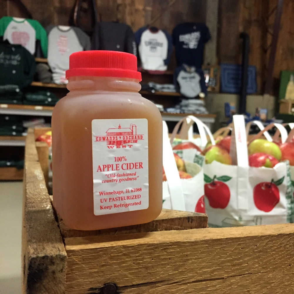 Miniature jug of apple cider at Edwards Apple Orchard West near Rockford, Illinois