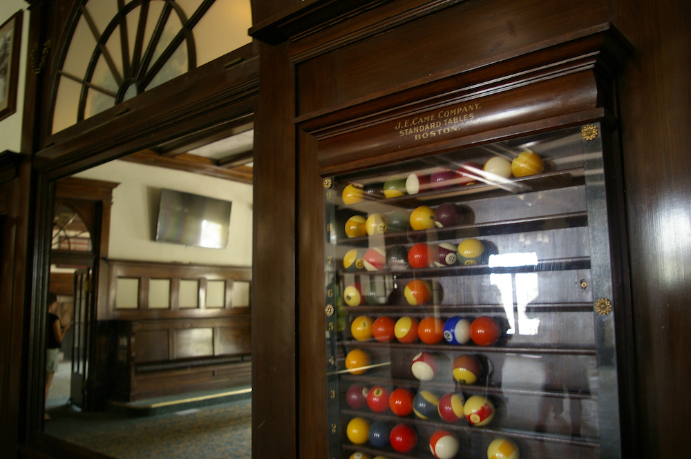 Billiards case in the game room of the Stanley Hotel in Estes Park, Colorado