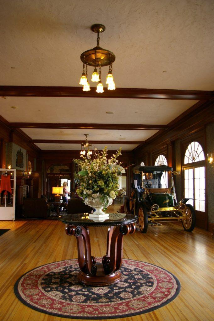 Lobby interior of the Stanley Hotel in Estes Park, Colorado
