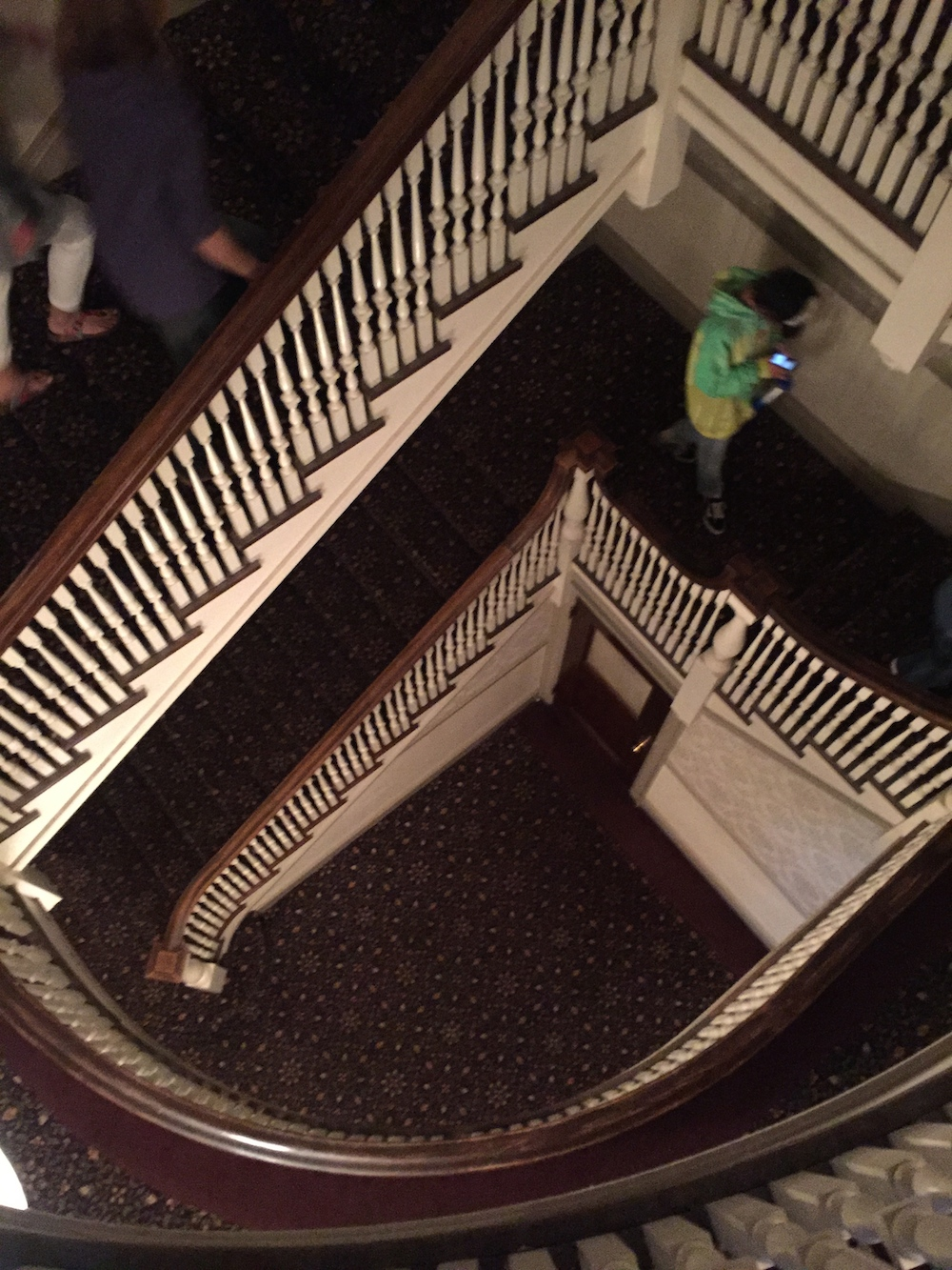 Spiral staircase rumored to be haunted at the Stanley Hotel in Estes Park, Colorado