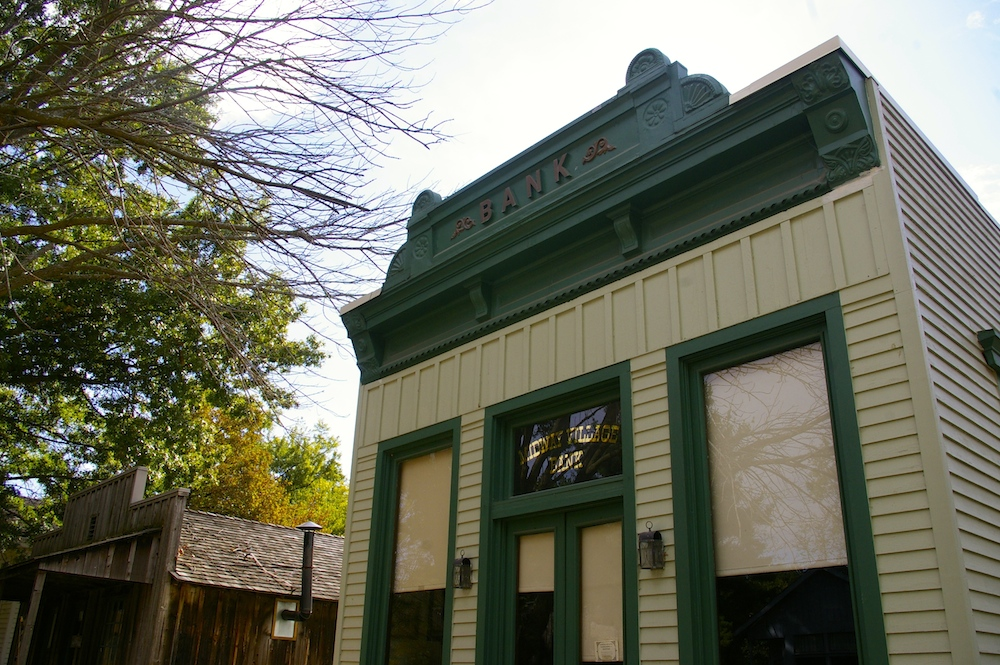 Historic bank building at the Midway Village Museum in Rockford, Illinois