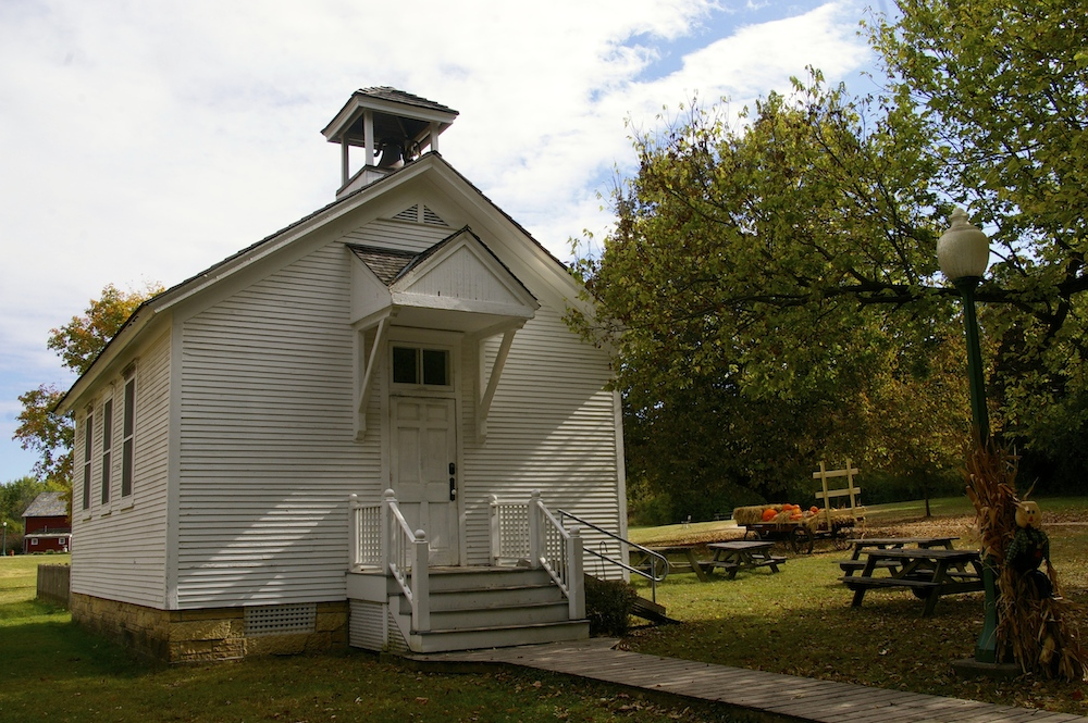 Exterior of historic schoolhouse at the Midway Village Museum in Rockford, Illinois