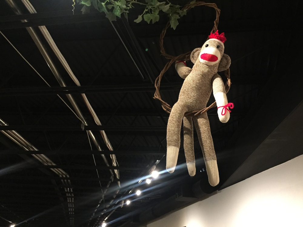 Sock monkey at the Midway Village Museum in Rockford, Illinois