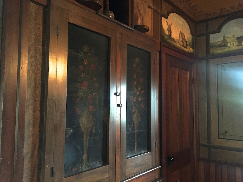 Cabinets with storage screens in the historic Tinker Swiss Cottage in Rockford, Illinois