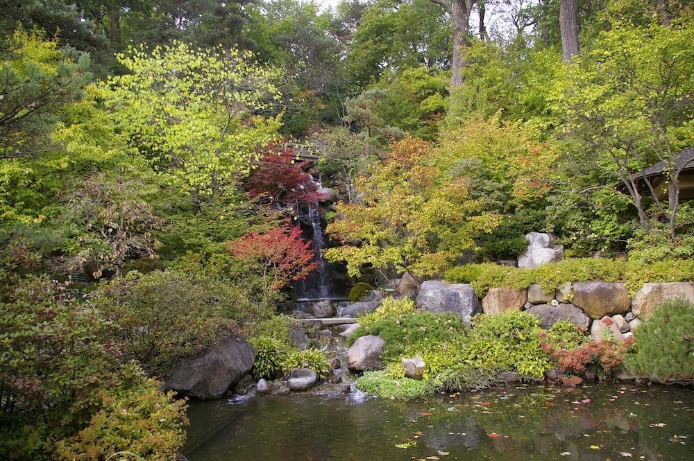 Waterfalls at the Anderson Japanese Gardens in Rockford, Illinois