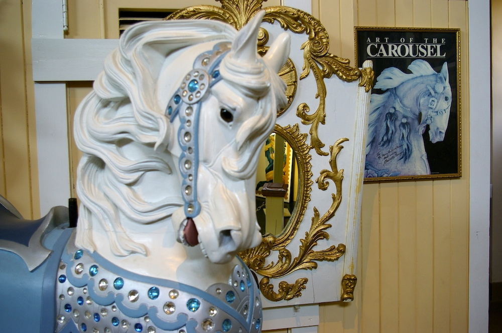 White carousel pony at the Carousel Museum in Sandusky, Ohio