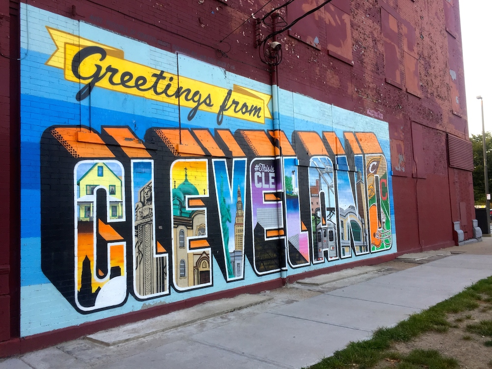 Greetings from Cleveland mural in Cleveland, Ohio