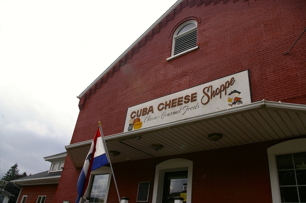 Exterior of the Cuba Cheese Shoppe in Cuba, New York